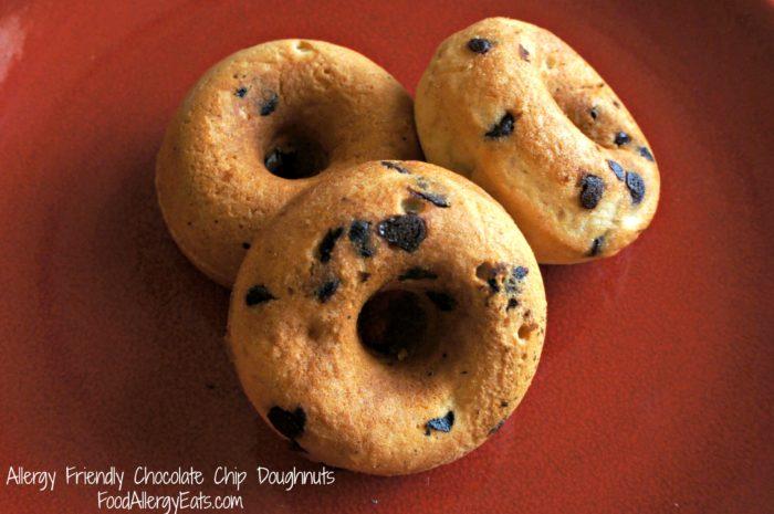 Allergy Friendly Chocolate Chip Doughnuts @FoodAllergyEats #vegan